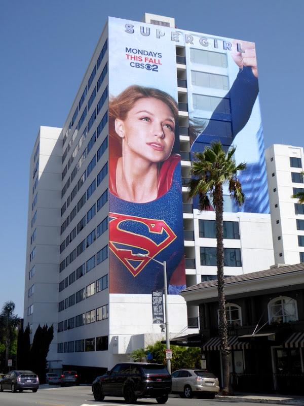 Giant Supergirl series premiere billboard Mondrian Hotel