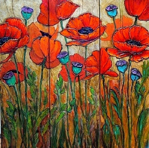Carol nelson fine art blog floral painting poppy flower art poppy floral painting poppy flower art poppy garden 4 by colorado mixed media artist carol nelson mightylinksfo
