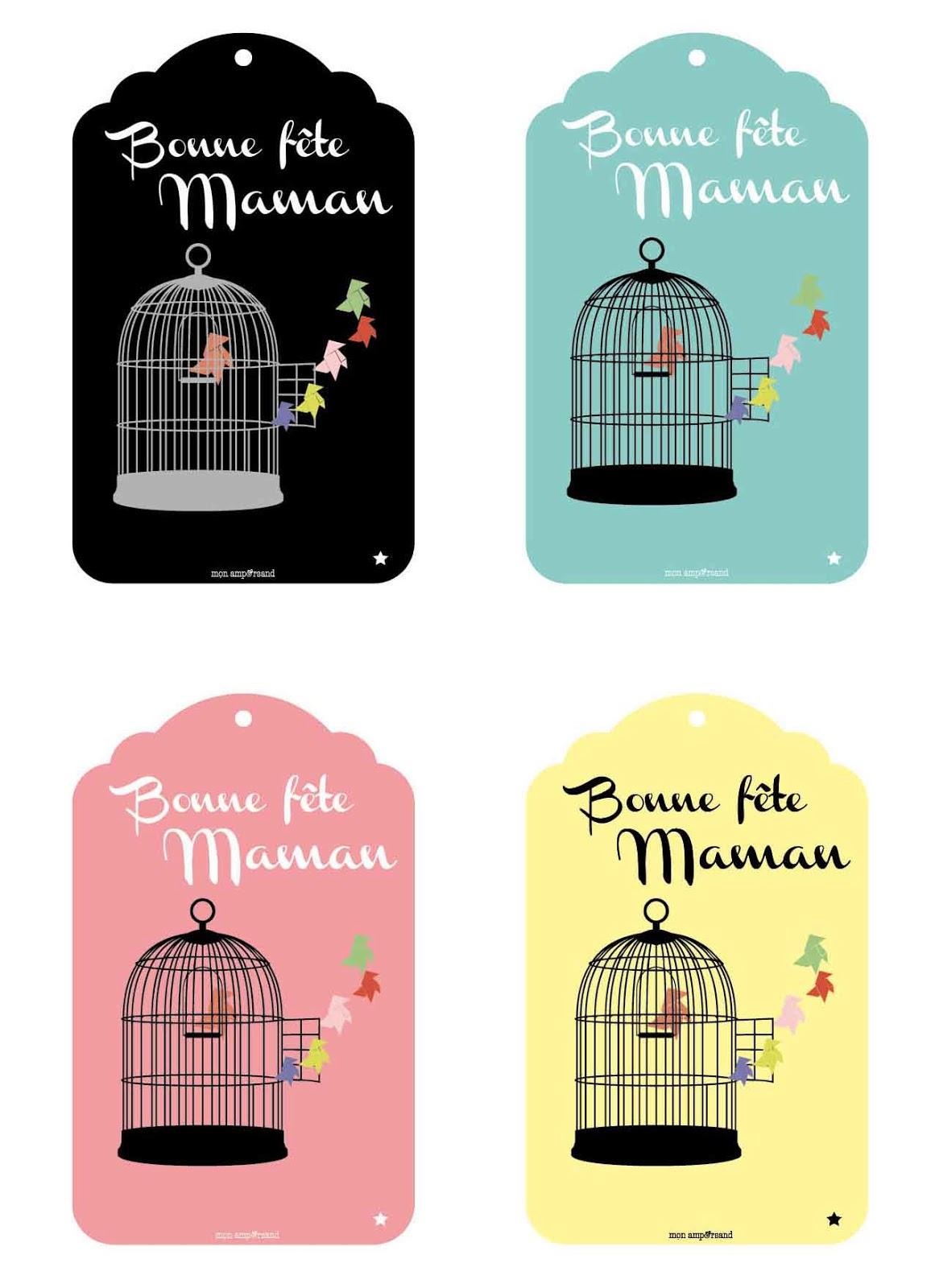Mon ampersand des tags et une pochette cadeau imprimer pour f ter les mamans - Carte a imprimer bonne fete maman ...