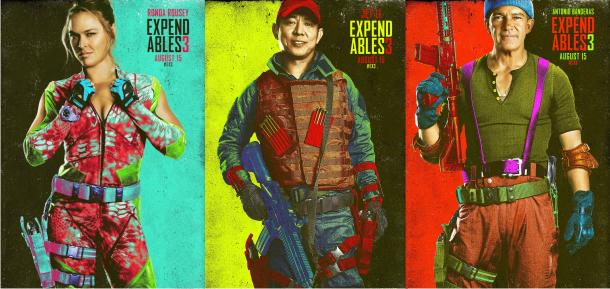 Astros da ação em pôsteres coloridos de Os Mercenários 3, com Ronda Rousey, Jet Li, Antonio Banderas e mais