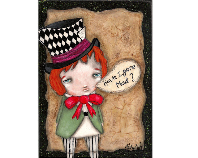 mad hatter painting on wood by Micki Wilde
