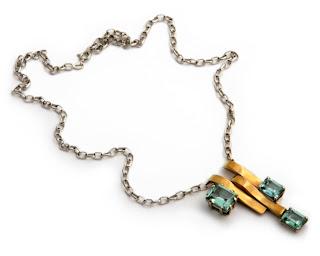 Vintage aquamarine 3 stone pendant