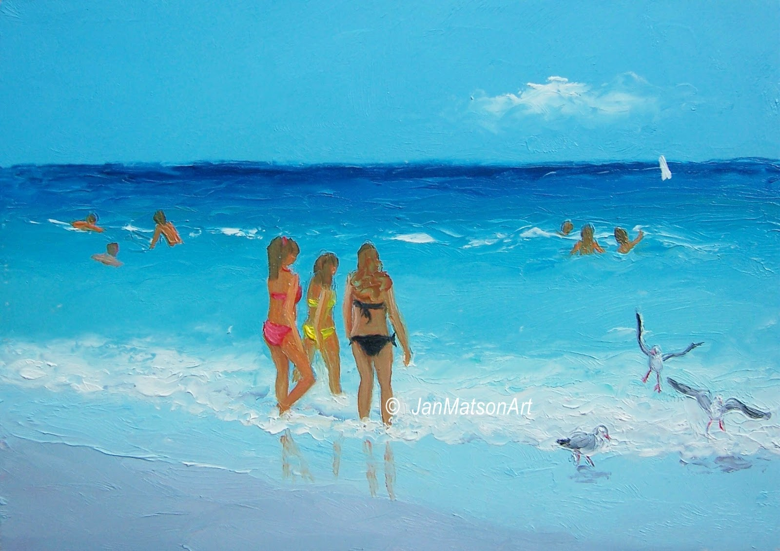 jan matson etsy art: etsy art, beach scenes 'bikini girls'