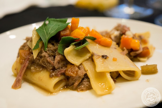 image of  Del verde paccheri pasta, with braised duck, butternut squash and mushrooms at Osteria Del Circo in NYC, New York