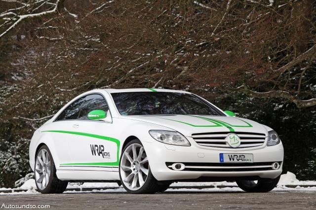 grün weißer Mercedes-Benz SL 500 von WARPworks