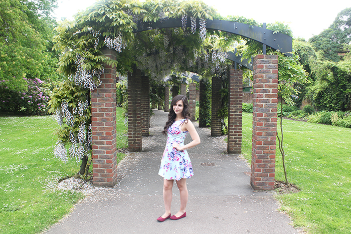H&M mint dress skater floral archway Southampton Wisteria Park
