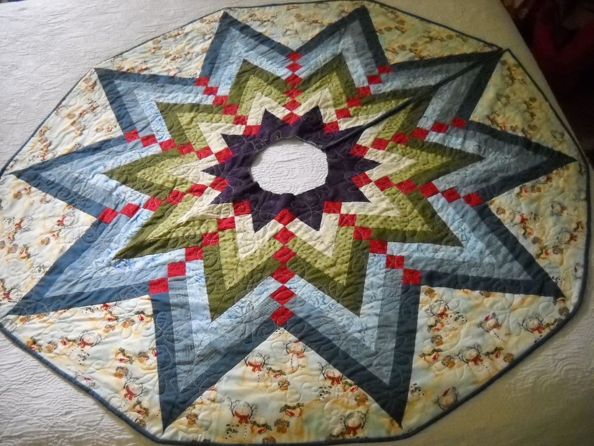 The quilted post french braid tree skirt