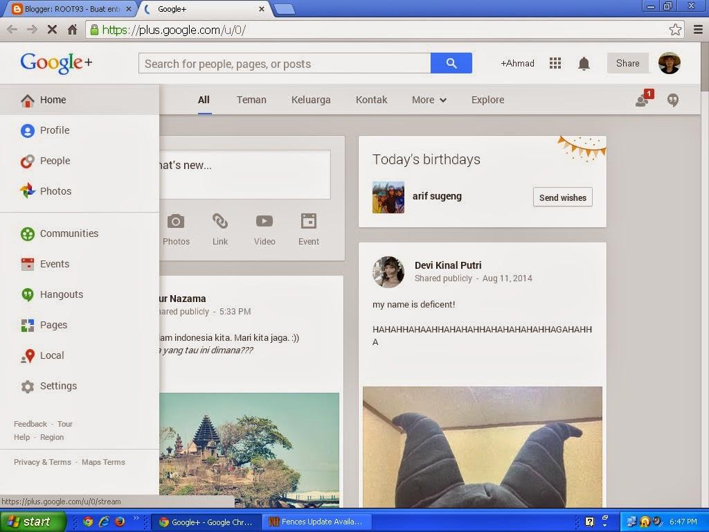 fasilitas google +