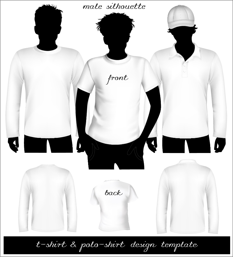 インナーシャツ デザイン テンプレート blank tshirt and polo shirt vector イラスト素材2
