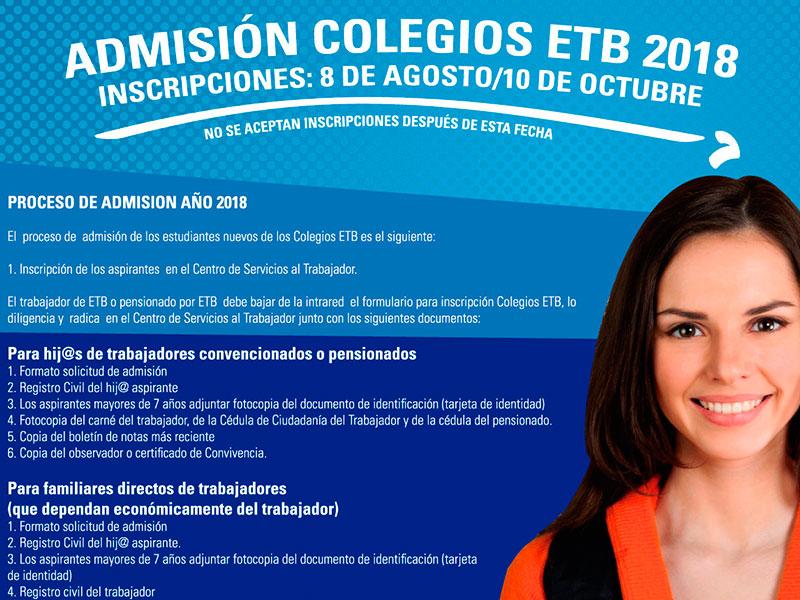 Admisión colegios ETB 2018 inscripciones: 8 de agosto/10 de octubre