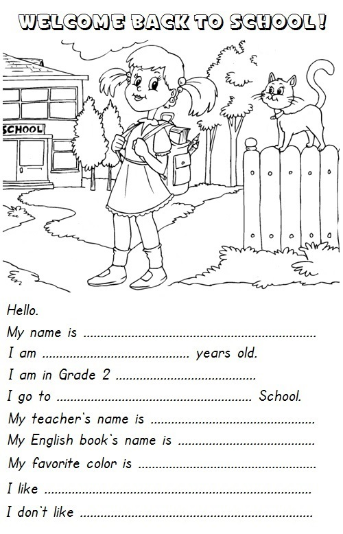 First Day Of School: First Day Of School Activities English