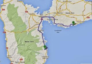 Itinéraire depuis votre gite Lamatéliane, location Guadeloupe