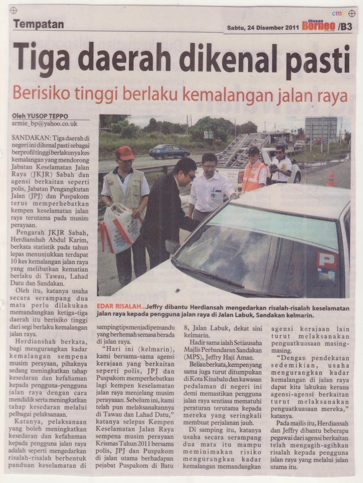 Jabatan Keselamatan Jalan Raya Sabah Keratan Akhbar Dan Isu Terkini