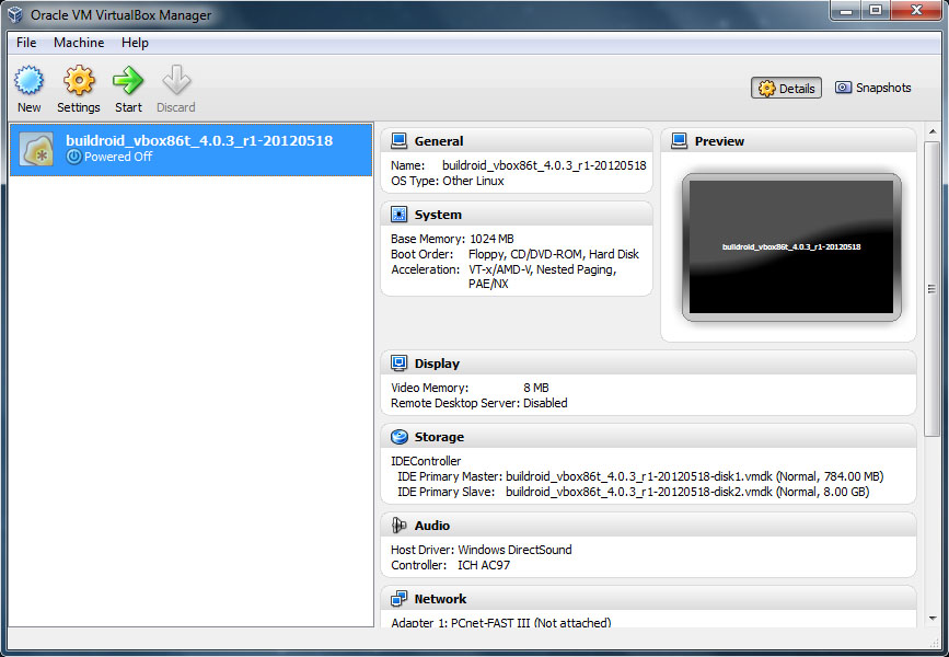 VirtualBox - Buildroid
