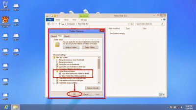 Learn how to disable show or don't show hidden files and folders in windows 8 step18