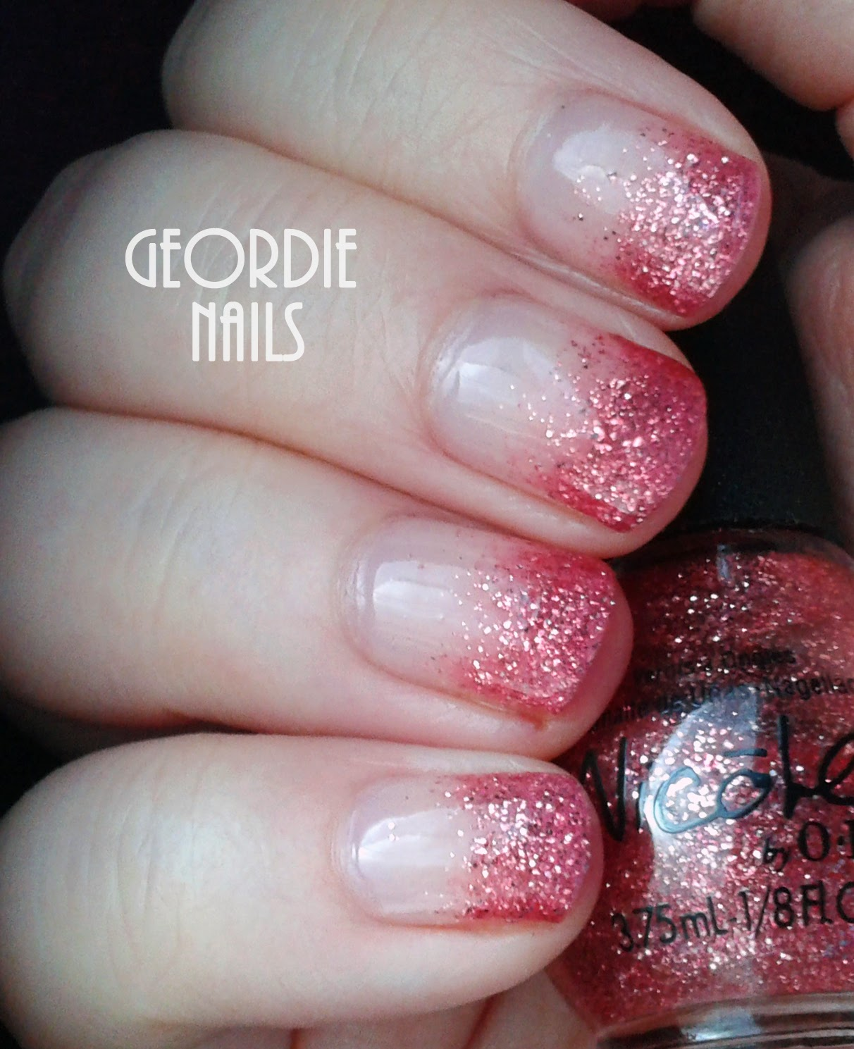 Geordie Nails: Pink Glitter Gradient Manicure