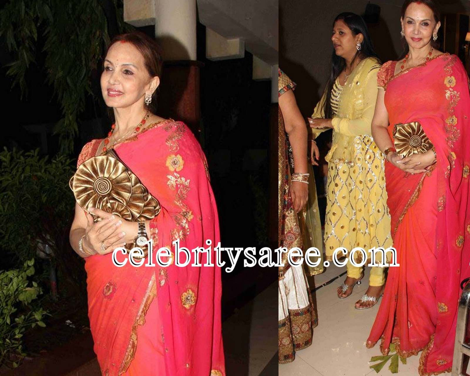 Bollywood celebrity in red georgette saree embellished with gold lace ...