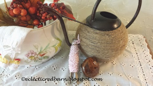 Eclectic Red Barn: Twine wrapped container with crocheted tea towel