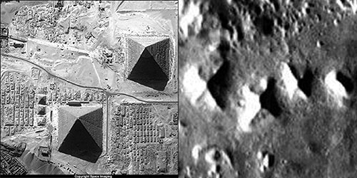 Pirámides de Giza, en comparación con las posibles pirámides marcianas en Cydonia