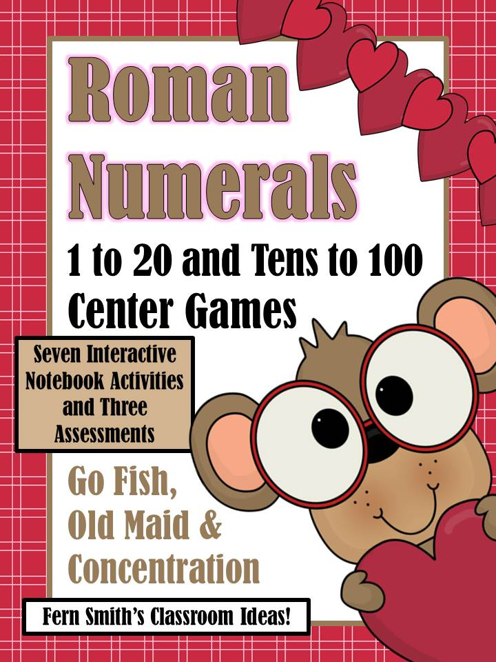 http://www.teacherspayteachers.com/Product/Roman-Numeral-Center-Games-and-Interactive-Notebook-Activities-February-1001503