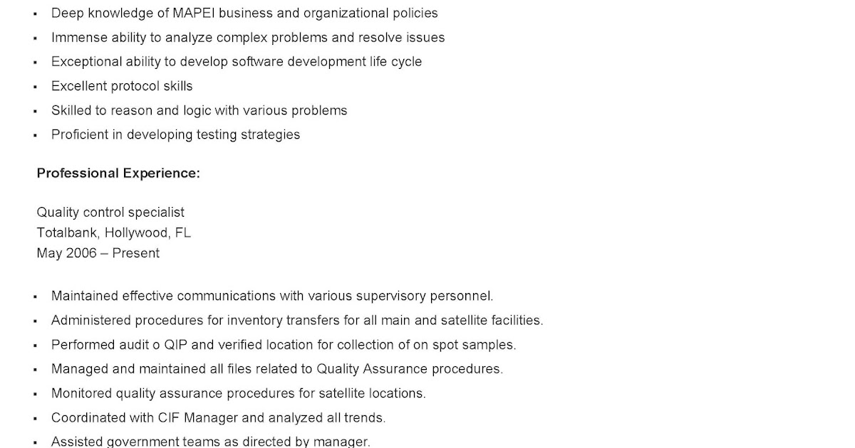 resume samples sample quality control specialist resume