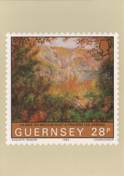 Renoir painting on a stamp - La Baie du moulin Huet a travers les arbres - Huet Bay seen through trees