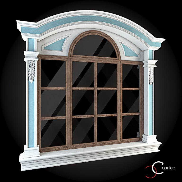Ornamente Geamuri Exterior, fatade case cu profile decorative polistiren, profile fatada,  Model Cod: WIN-064