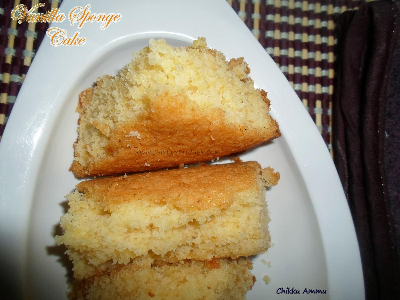 Chikkus kitchen vanilla sponge cake recipe basic for Basic vanilla sponge