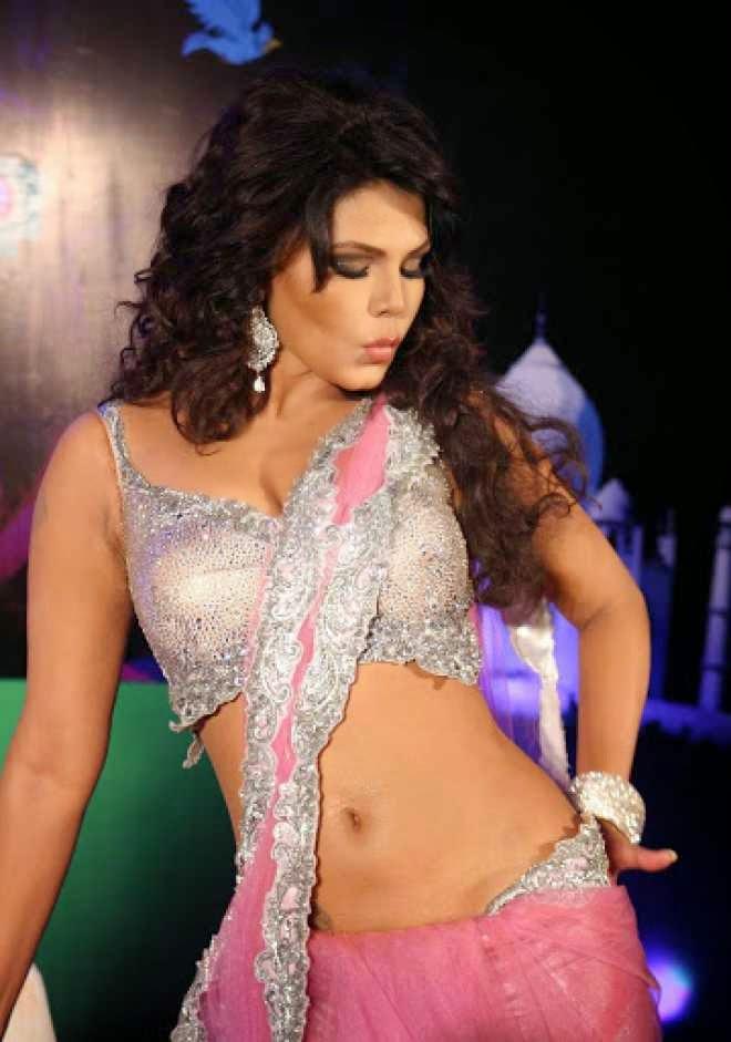 Rakhi Sawant Hot Cleavage and Navel HD Wallpapers in Pink Saree