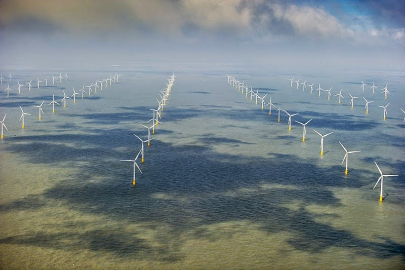 An offshore wind farm standing in the North Sea off the coast of Kent.