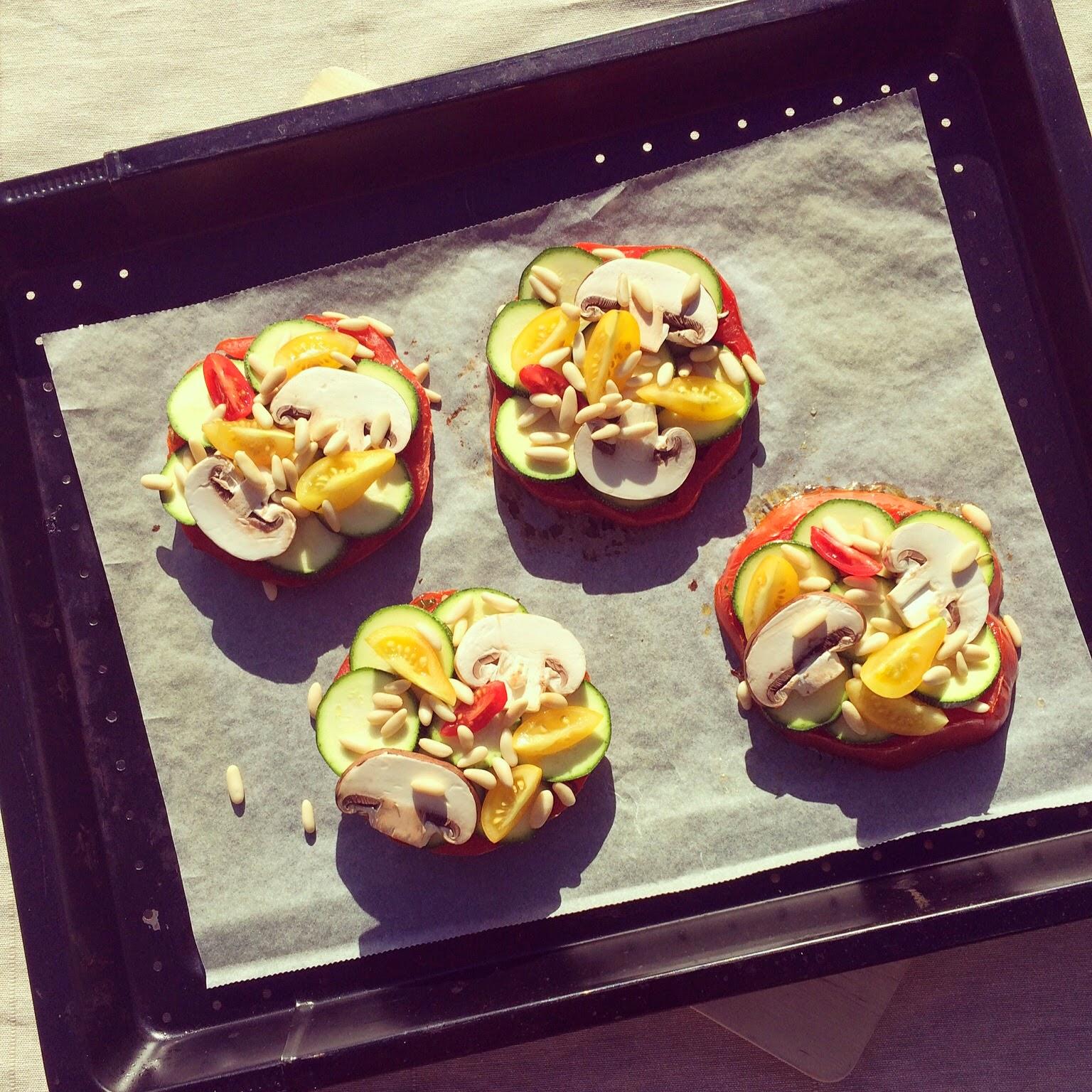 tartelettes tomates courgettes champignons pignons