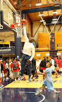 Inspirational picture from Michael Jordan dunking at age 50 and inspiring all the kids around.