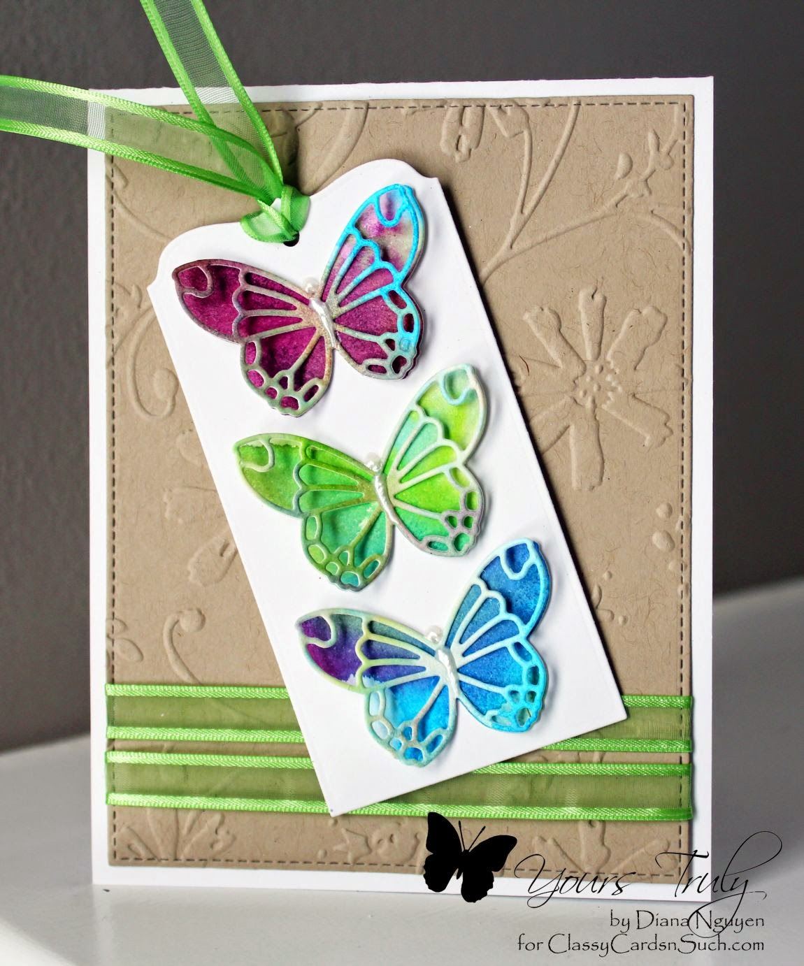 Diana Nguyen, Poppystamps, butterflies, Stylized flowers, embossing folder