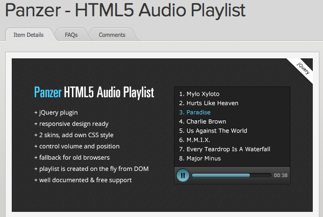 Panzer - HTML5 Audio Playlist