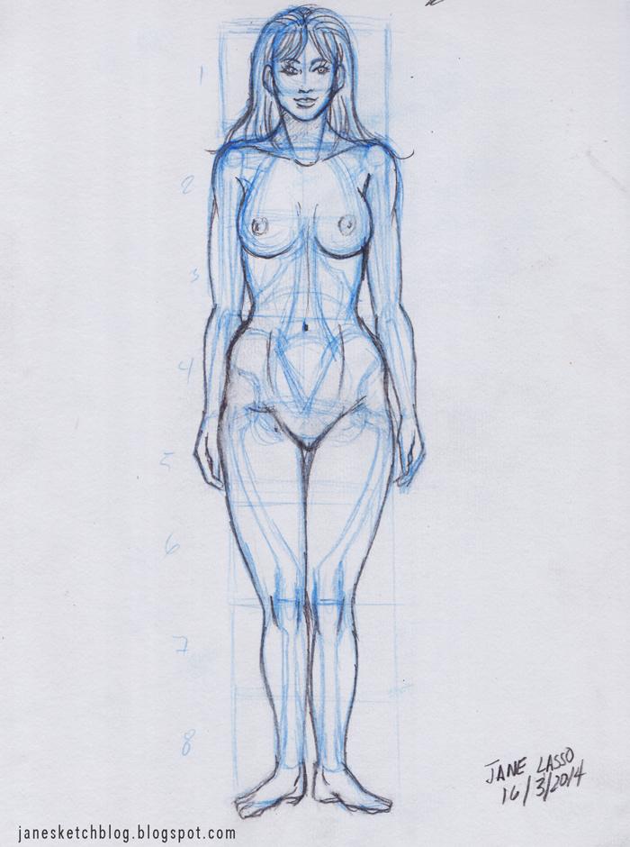 Dibujo de proporciones de mujer a lápiz