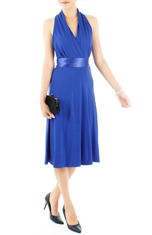 Marilyn Flare Halter Neck Dress in Midi Length