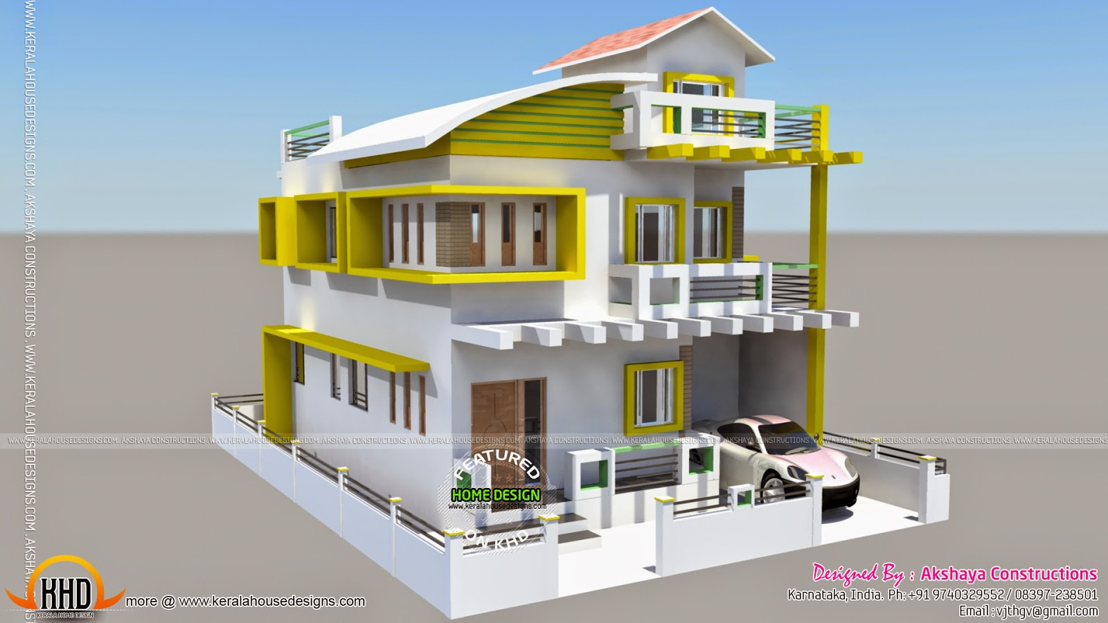Karnataka home design kerala home design and floor plans for Side view house plans