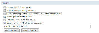 Microsoft Excel 2007: Excel Option :Ignore Other applications that use Dynamic Data Exchange(DDE)