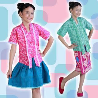 Kebaya Anak-Anak Batik Warna Warni Cerah Modern