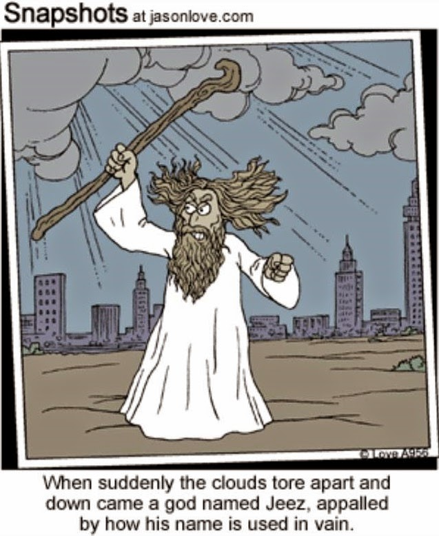 Funny Using God's Name Vain Cartoon Picture