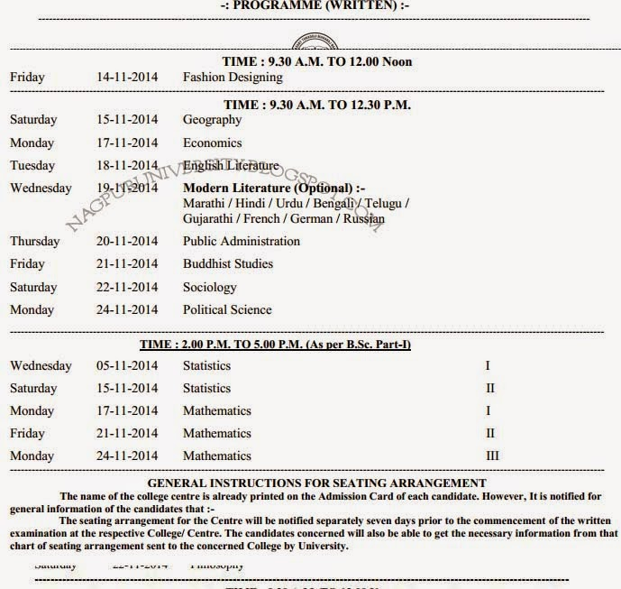Nagpur university ba 1st year time table winter 2017 for Rtmnu time table 4th sem