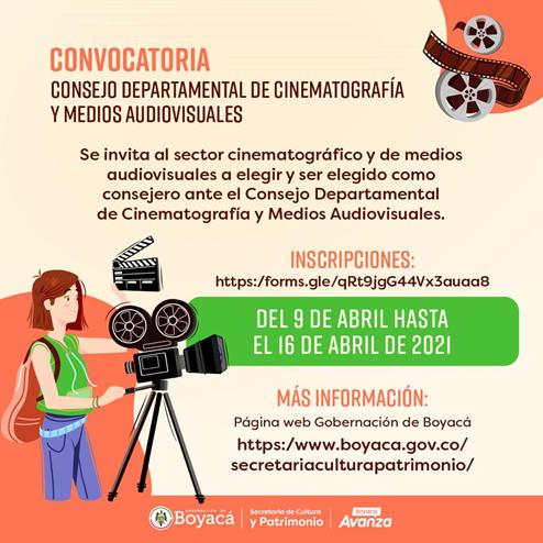 Cultura y Patrimonio de Boyacá abren convocatoria para elegir Consejo Departamental de Cinematografía y Medios Audiovisuales