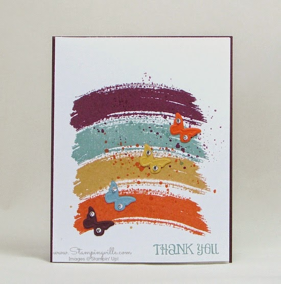 Stampin' Up! Work of Art Thank You Card with butterflies