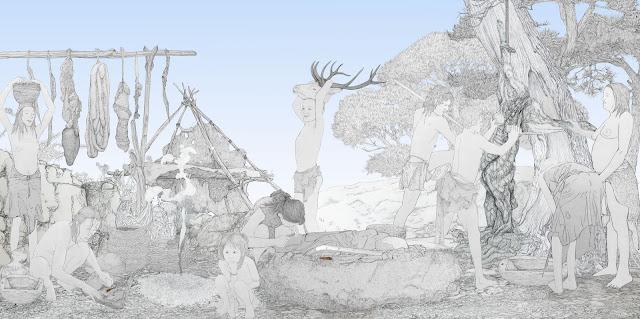 aprovechamiento y procesamiento de la caza, grupo humano, mujeres,  prehistoria, dibujo