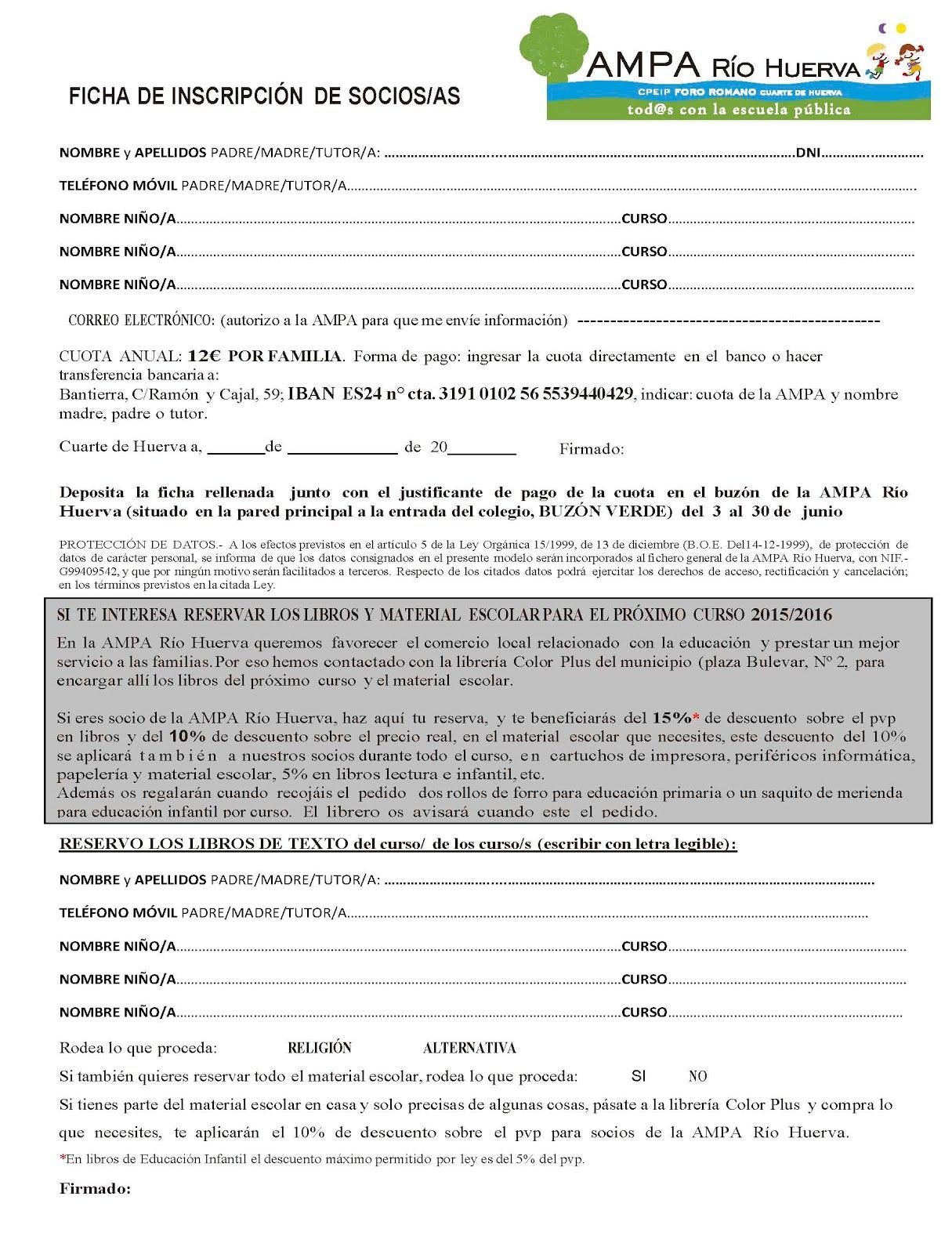YA ESTÁ A VUESTRA DISPOSICIÓN LA FICHA DE SOCIOS/AS Y RESERVA DE LIBROS PARA EL CURSO 2015/16.