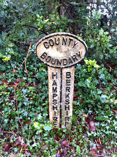County Boundary post between Hampshire and Berkshire
