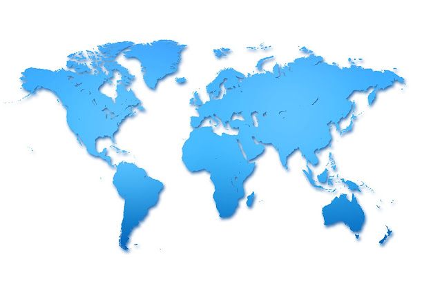 World Maps Outline Blue