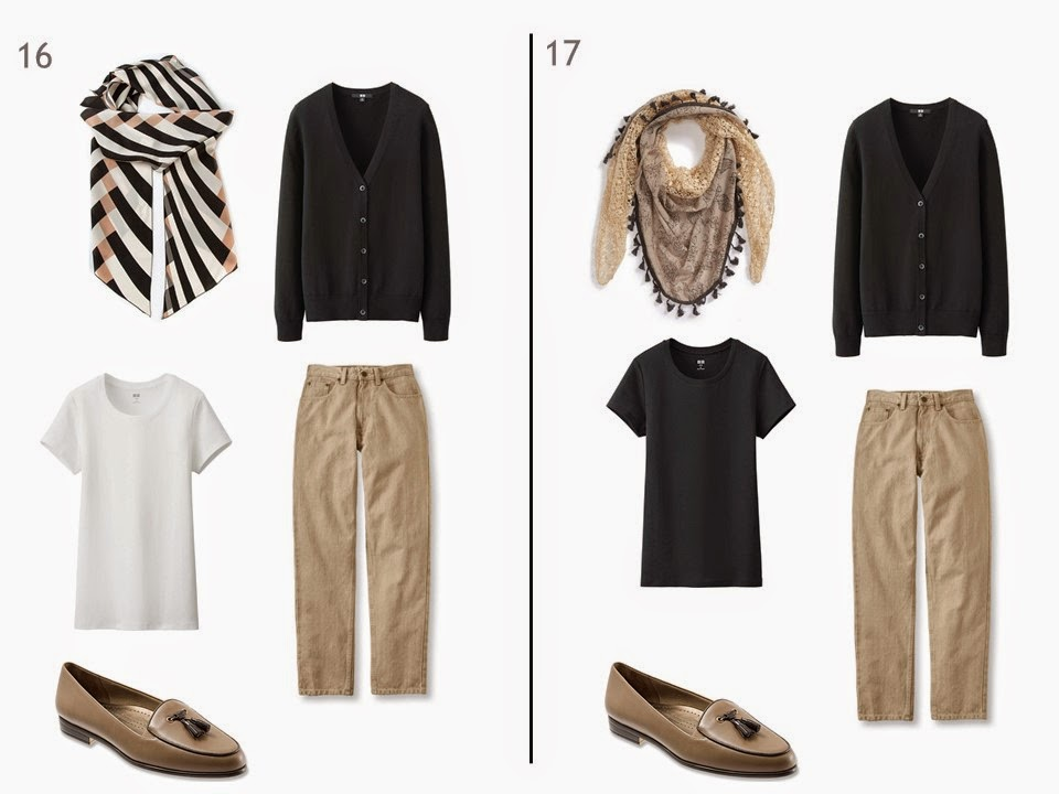 2 outfits with beige jeans and a black cardigan, one with a white tee shirt and one with a black tee shirt, each with a patterned scarf and two-toned shoes