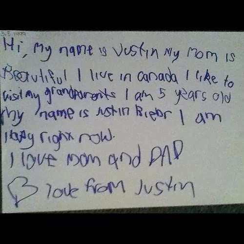 justin bieber handwriting