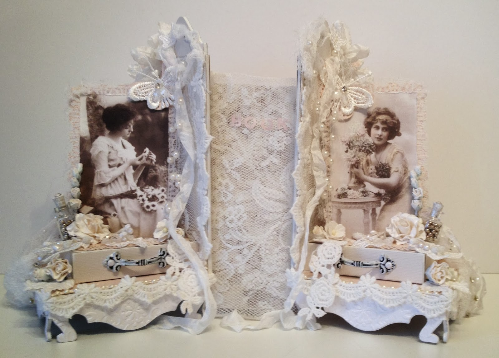 annes papercreations shabby chic romantic bookends with bookmarks with woc beautiful flowers. Black Bedroom Furniture Sets. Home Design Ideas